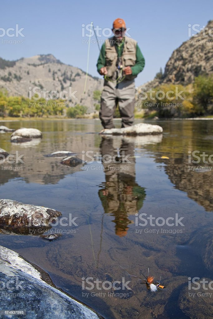 Fishing a Dry Fly stock photo