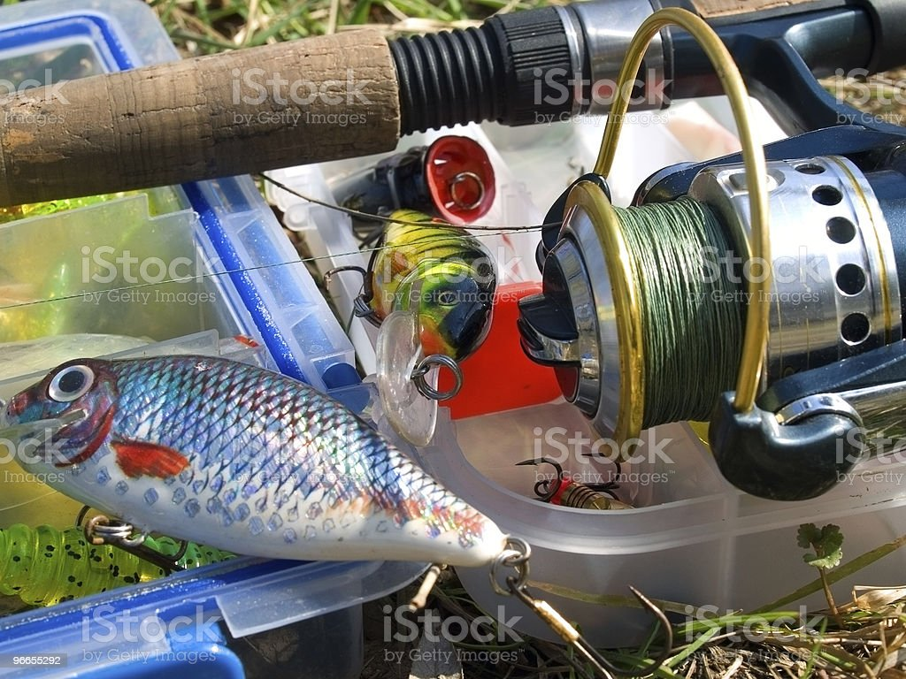 Fishing accessories stock photo