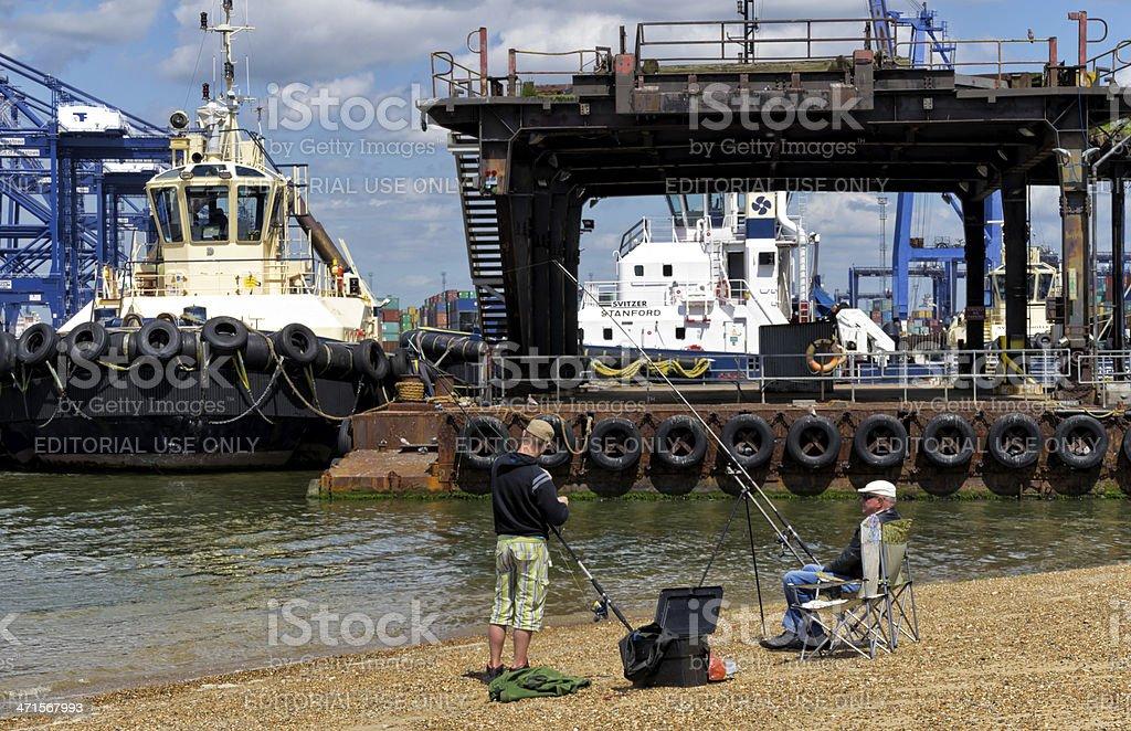 Fishing at Felixstowe royalty-free stock photo