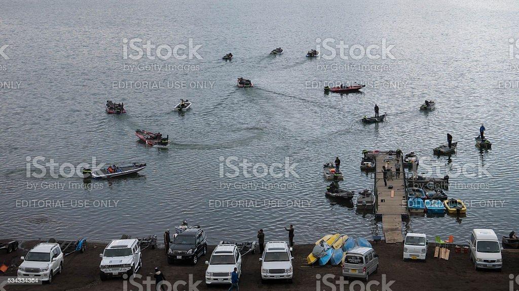 fishing at Kawaguchiko lake, Japan stock photo