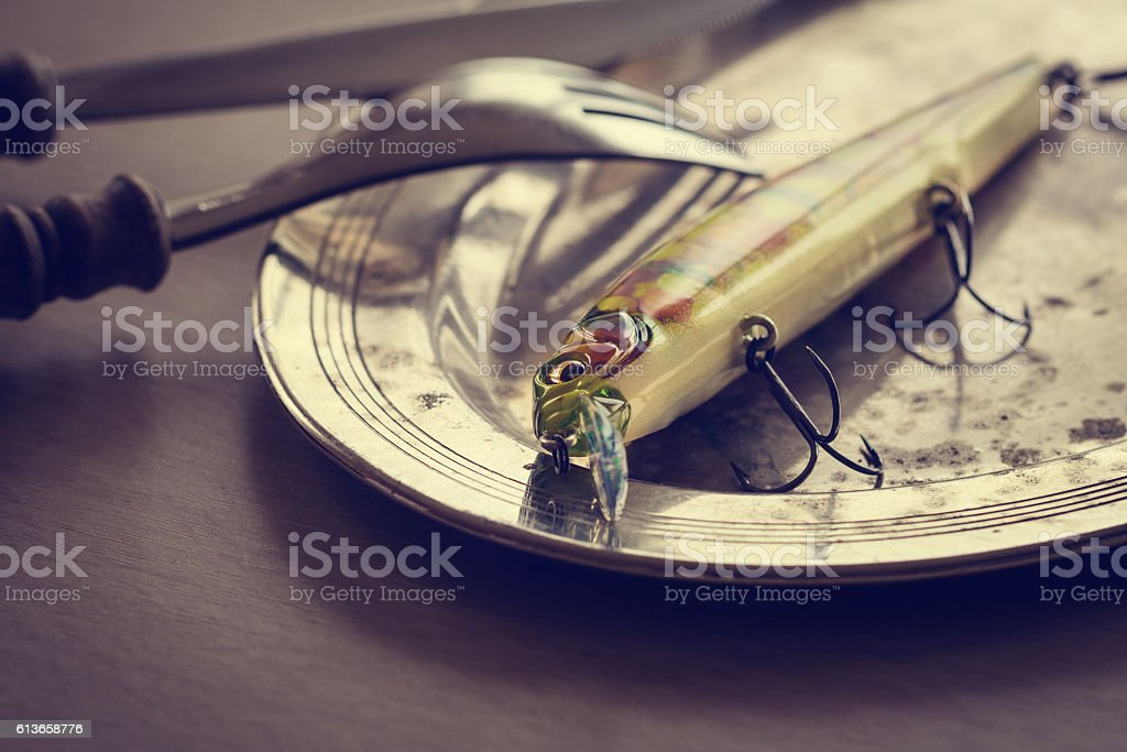 Fishing background with fishing lure on a plate stock photo