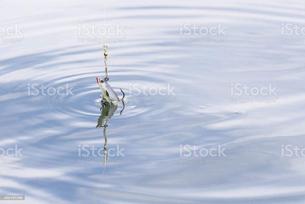 Fishing bait, a wobbler, in blue water stock photo