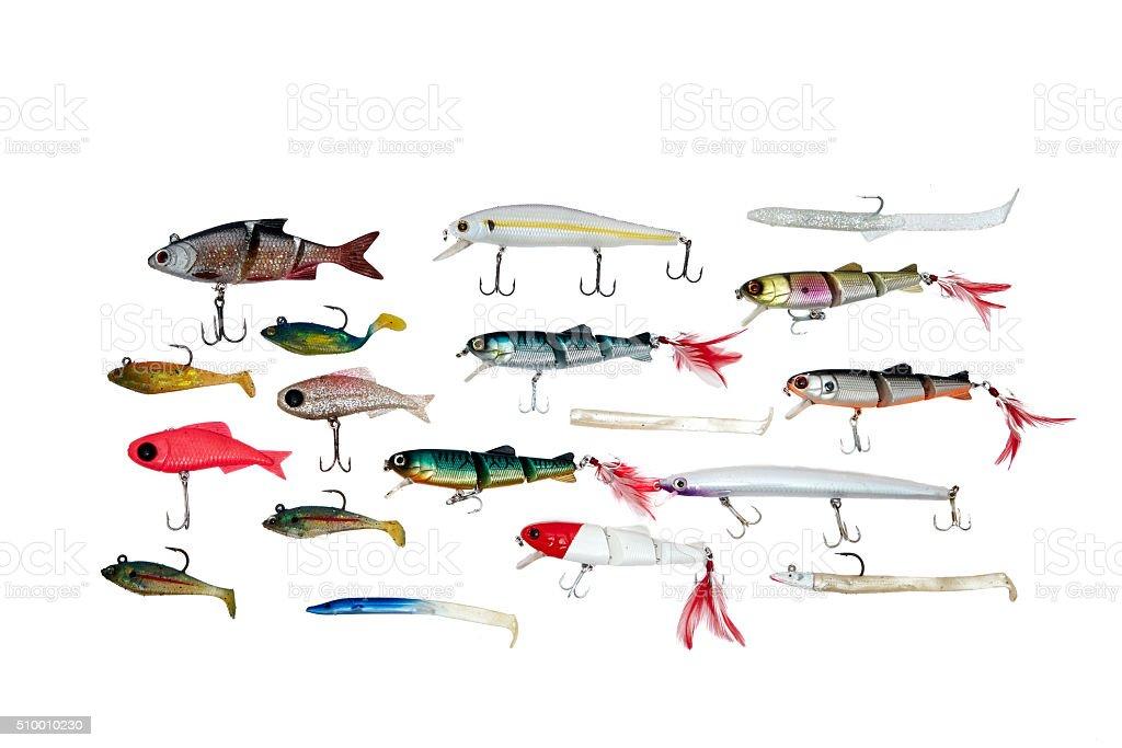 Fishing baits isolated on white background stock photo