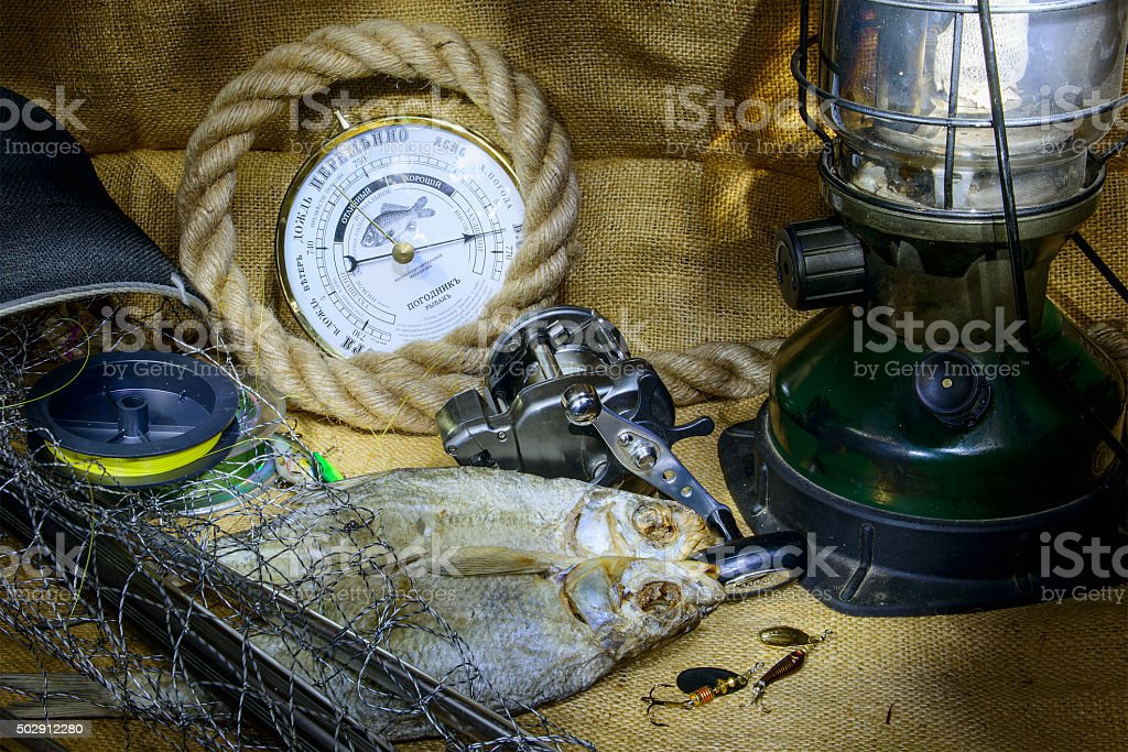 fishing baits on a table stock photo