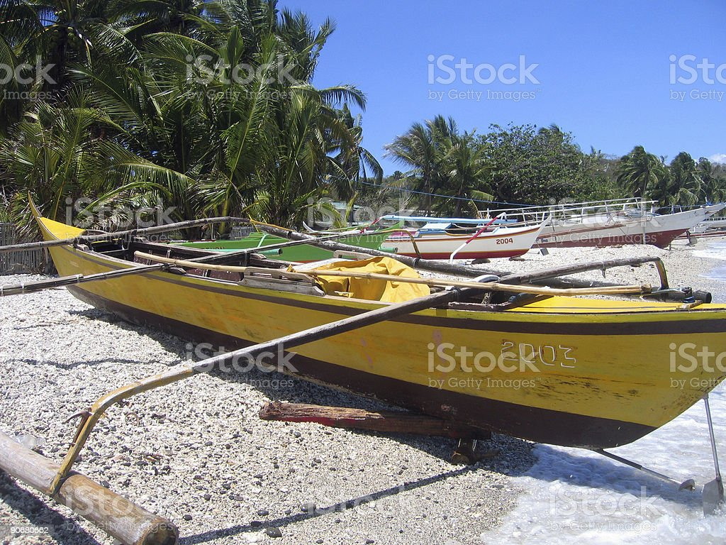 fishing bankas small outrigger boats philippines royalty-free stock photo