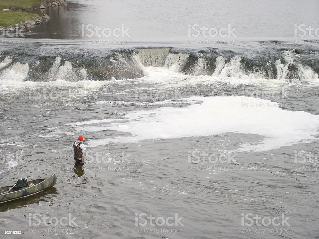 Fishing Below the Falls royalty-free stock photo