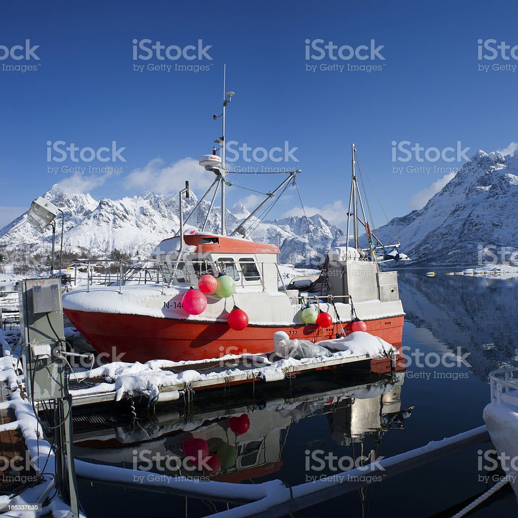 Fishing boat and Fjords in Lofoten islands, norway royalty-free stock photo