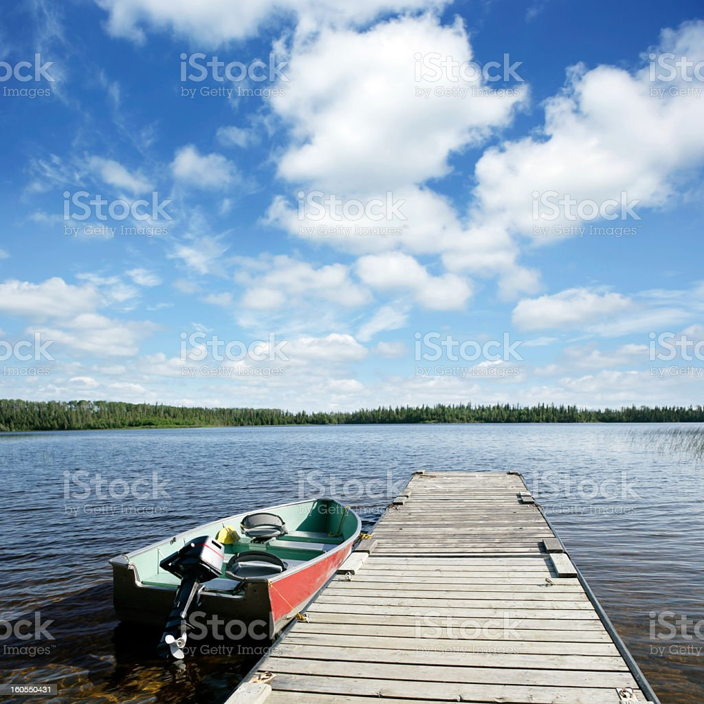 XXXL fishing boat and lake royalty-free stock photo