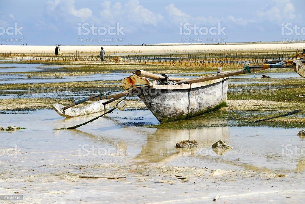 Fishing boat and seaweed farm royalty-free stock photo
