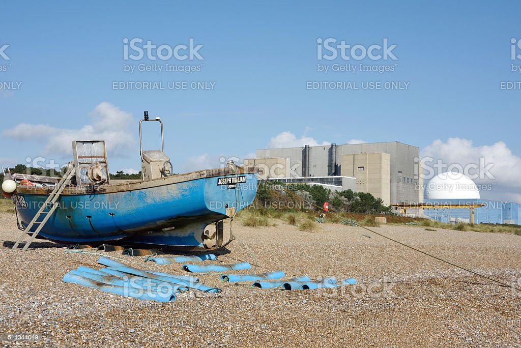 Fishing Boat and Sizewell Nuclear Power Station stock photo