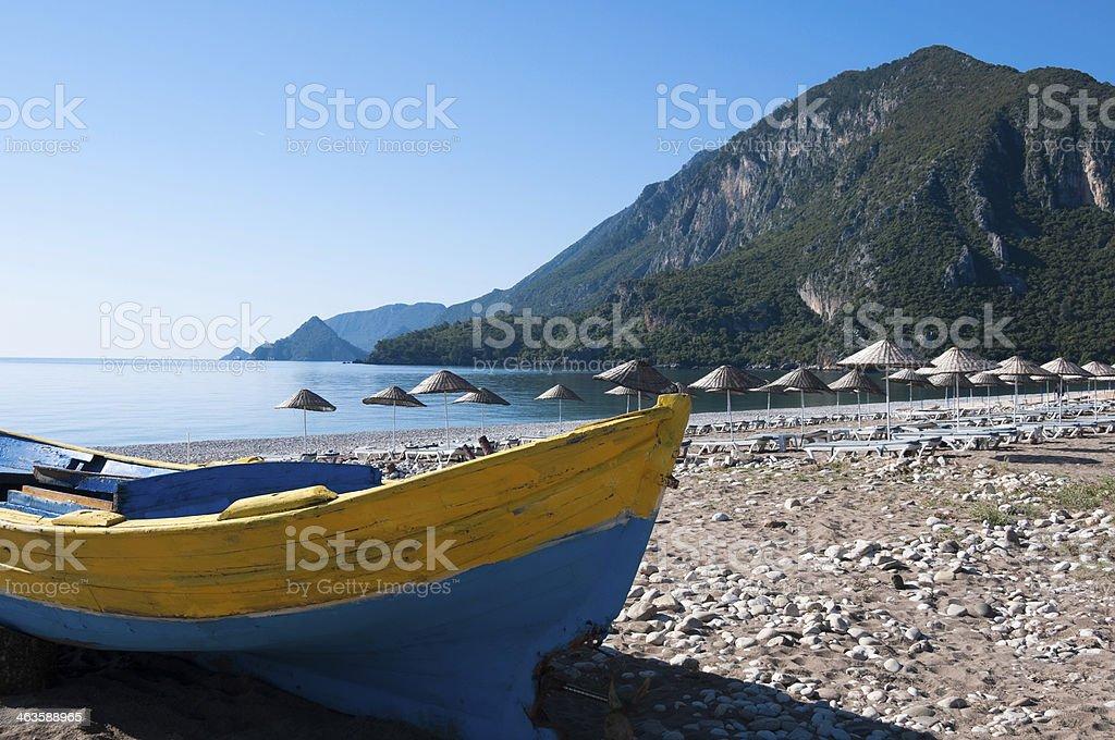 Fishing boat at Cirali beach, Turkish Riviera stock photo