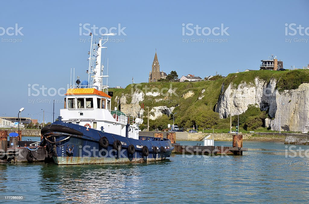 Fishing boat at Dieppe in France stock photo