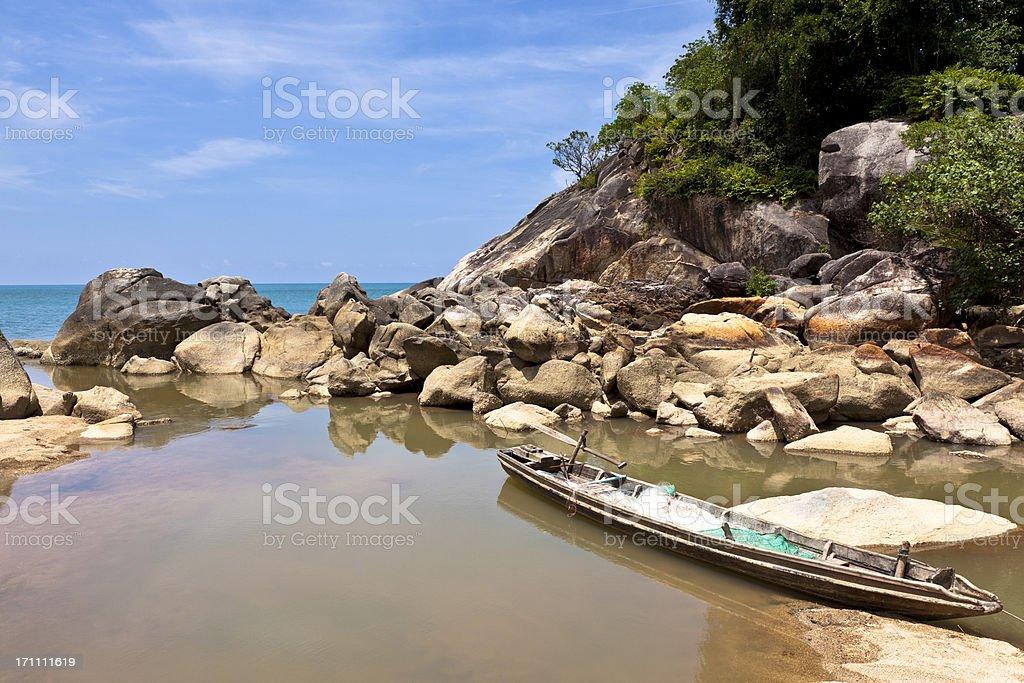 fishing boat at paradise island stock photo