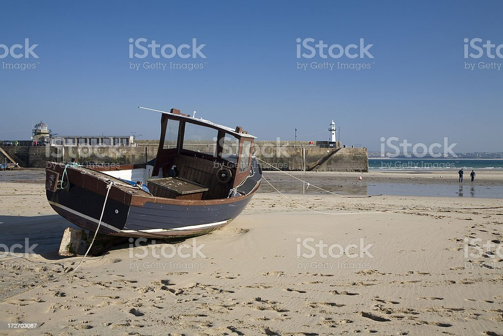 Fishing boat at St Ives royalty-free stock photo