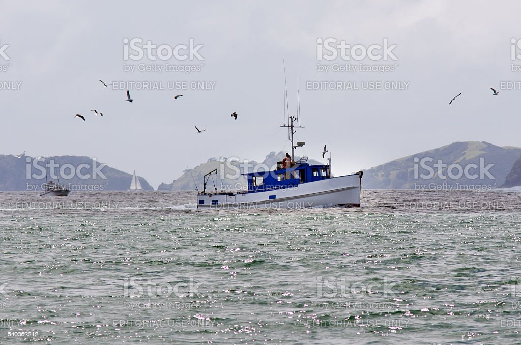 Fishing boat at the  Bay of Islands New Zealand stock photo