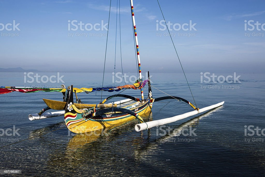 Fishing boat at the beach in East Java stock photo