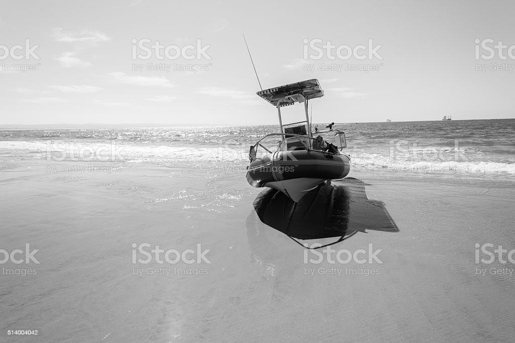 Fishing Boat Beach Black White stock photo