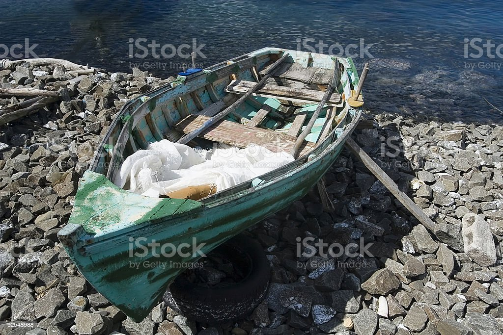 Fishing Boat Beached at Soufriere royalty-free stock photo