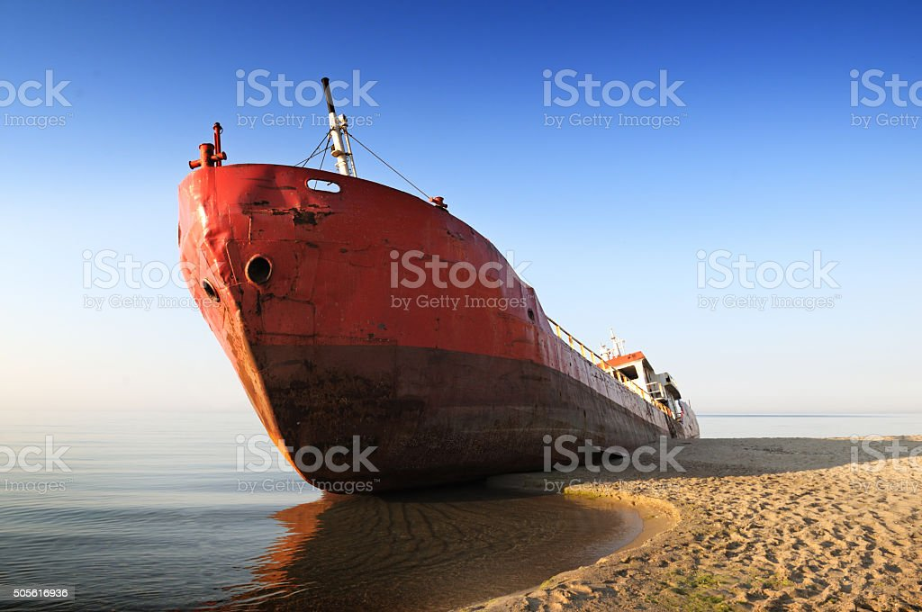 Fishing boat beached. stock photo