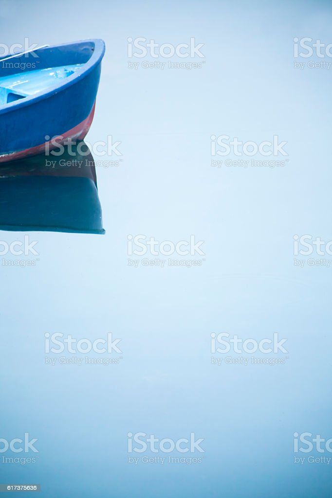 Fishing boat bow, mist, water surface. stock photo