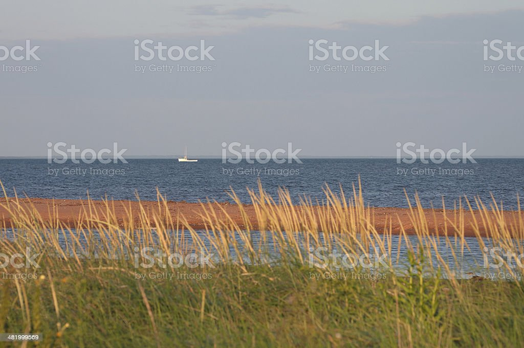 Fishing Boat by PEI Shoreline royalty-free stock photo