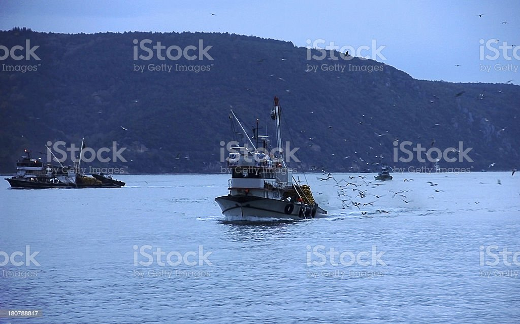 Fishing boat coming back home royalty-free stock photo