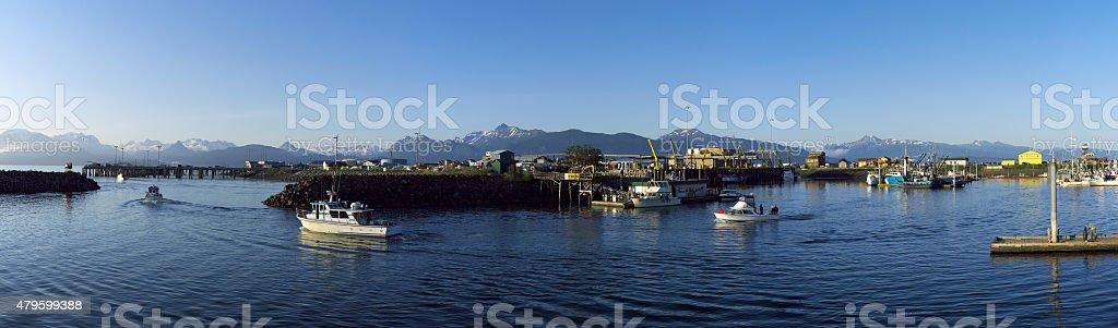 Fishing Boat Departure, Homer, Alaska, June 2015 stock photo