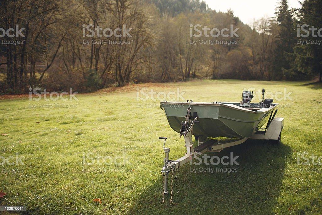 Fishing Boat in a Field stock photo