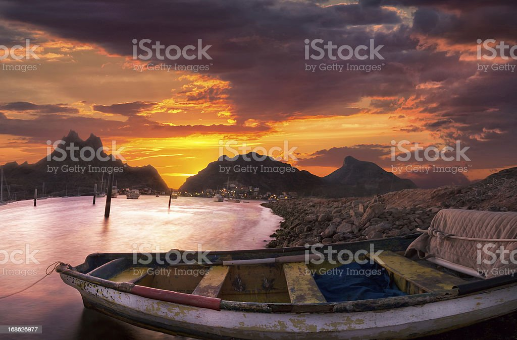 Fishing Boat in Bay royalty-free stock photo