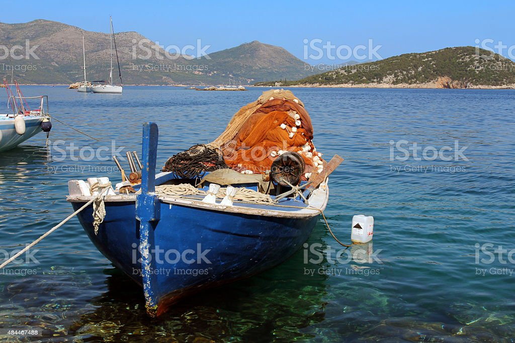 Fishing boat in Dalmatia, Croatia stock photo