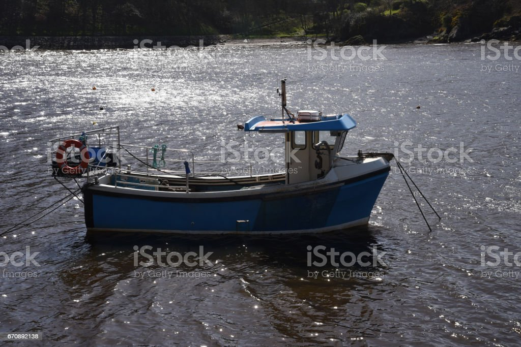 Fishing Boat in Goodwick Harbour, Pembrokeshire, Wales, UK stock photo