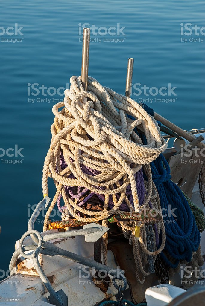 Fishing boat in Greece stock photo