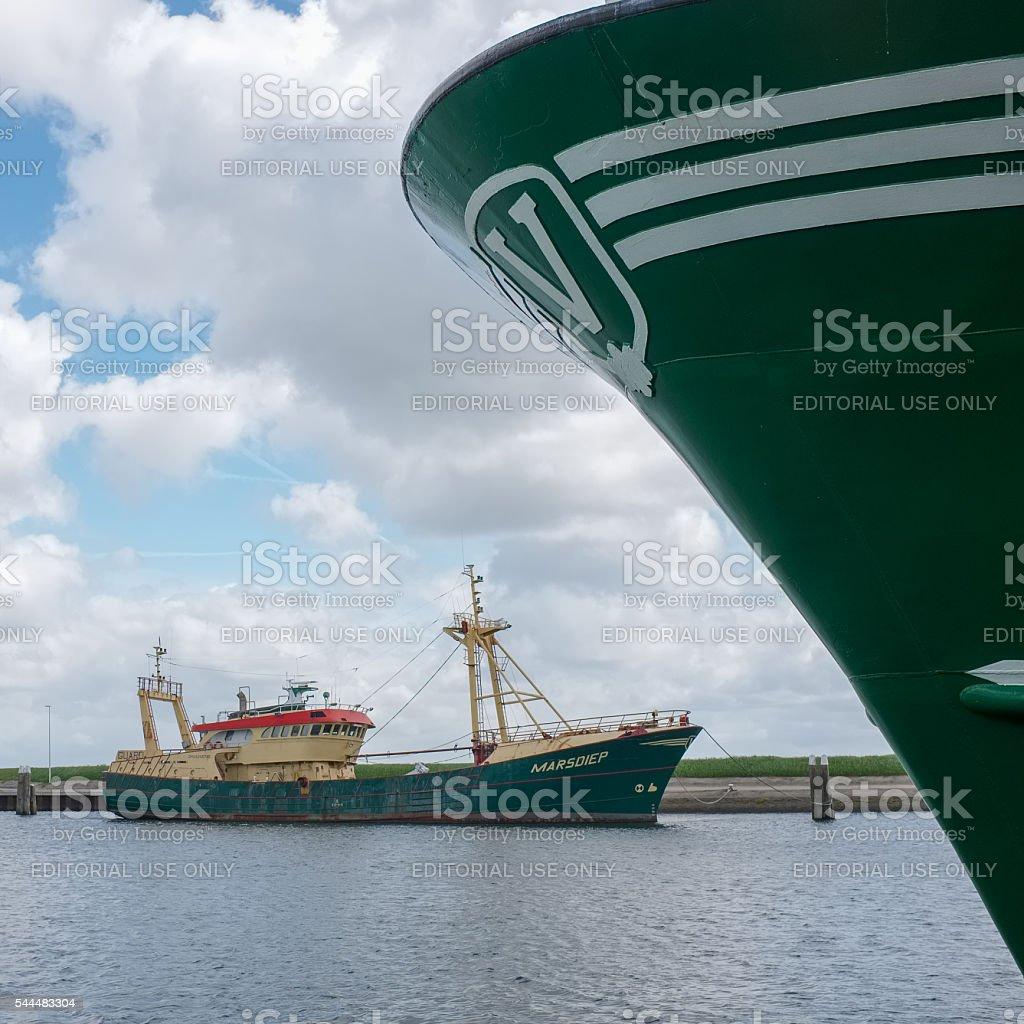 Fishing boat in port of Oudeschild, Netherlands stock photo
