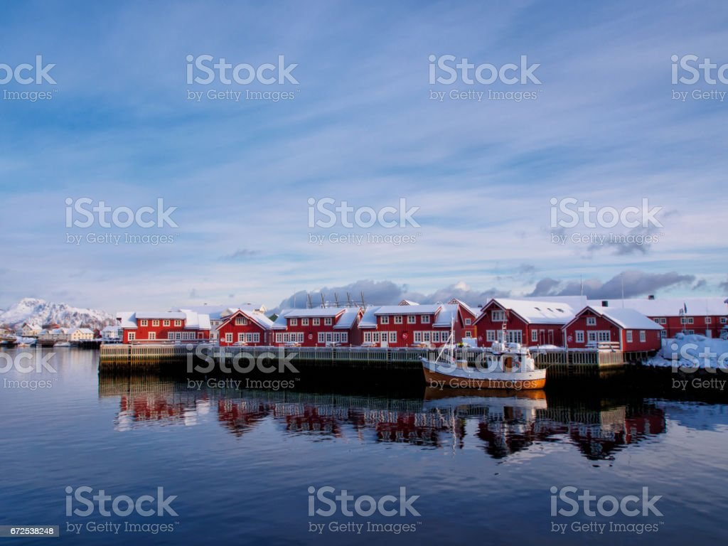Fishing boat in port of Svolvaer, Lofoten, Norway stock photo