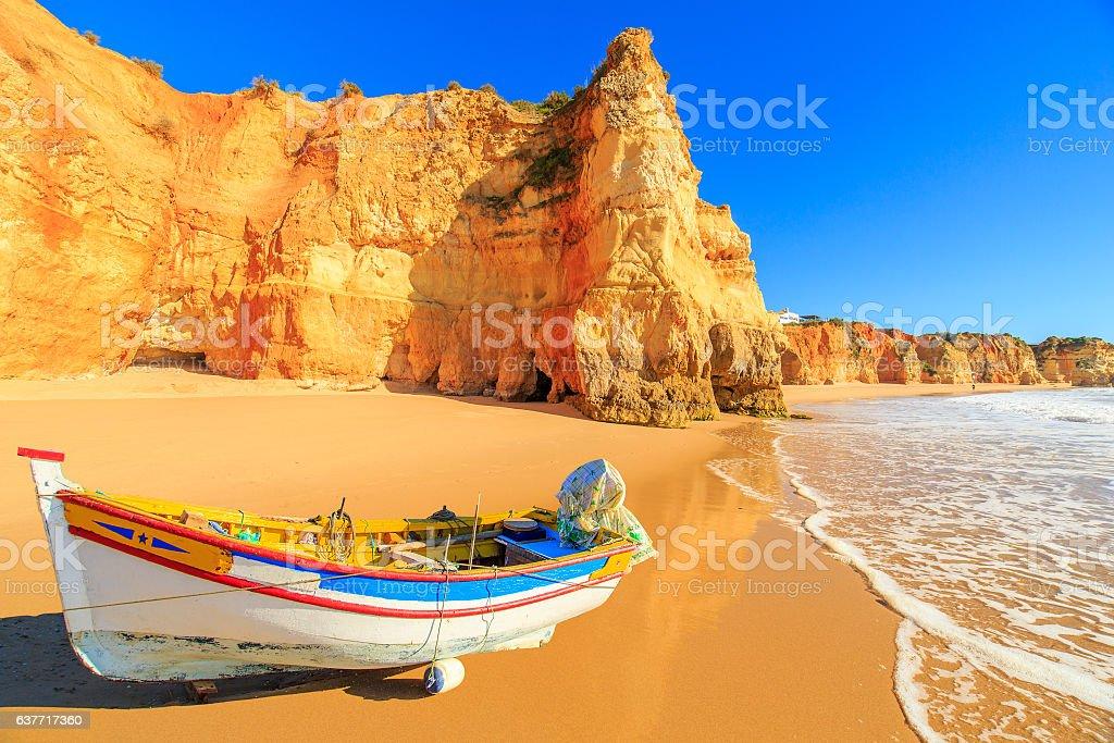 Fishing boat in Portimao, Algarve region, Portugal stock photo