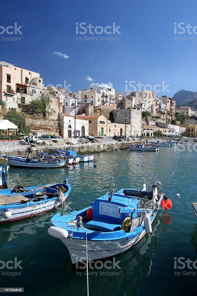 Fishing Boat in Sicilian Harbor stock photo