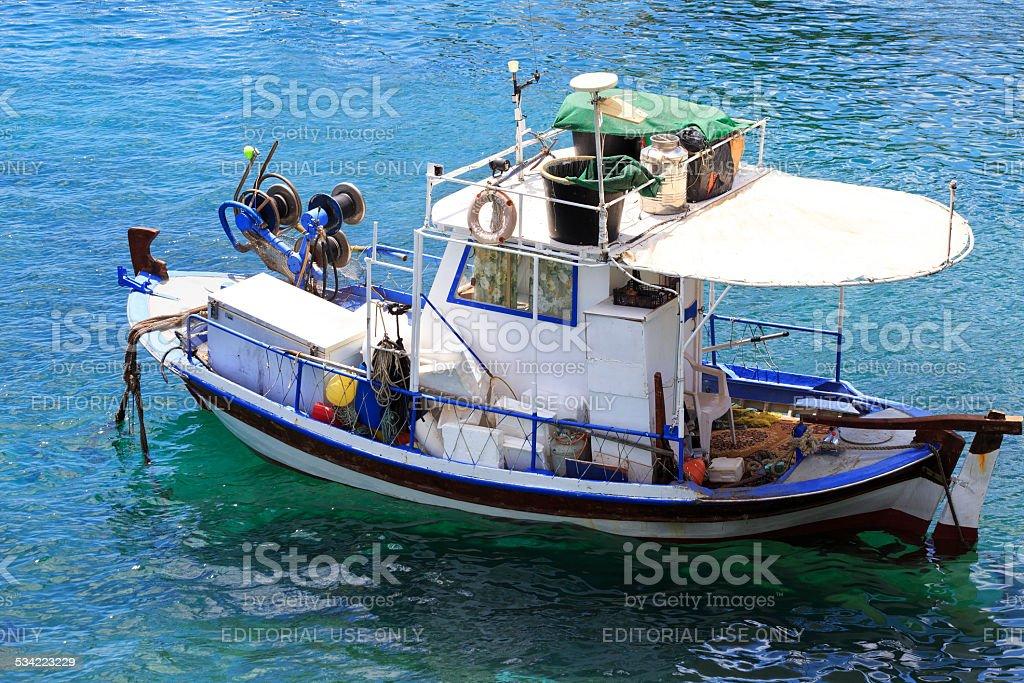 Fishing Boat in the Aegean Sea stock photo
