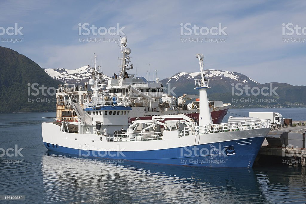 Fishing boat in the Norwegian sea (Volda, Norway) royalty-free stock photo