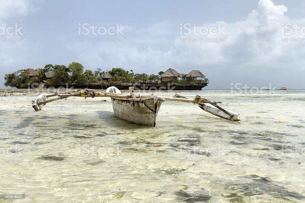 Fishing boat in Zanzibar stock photo