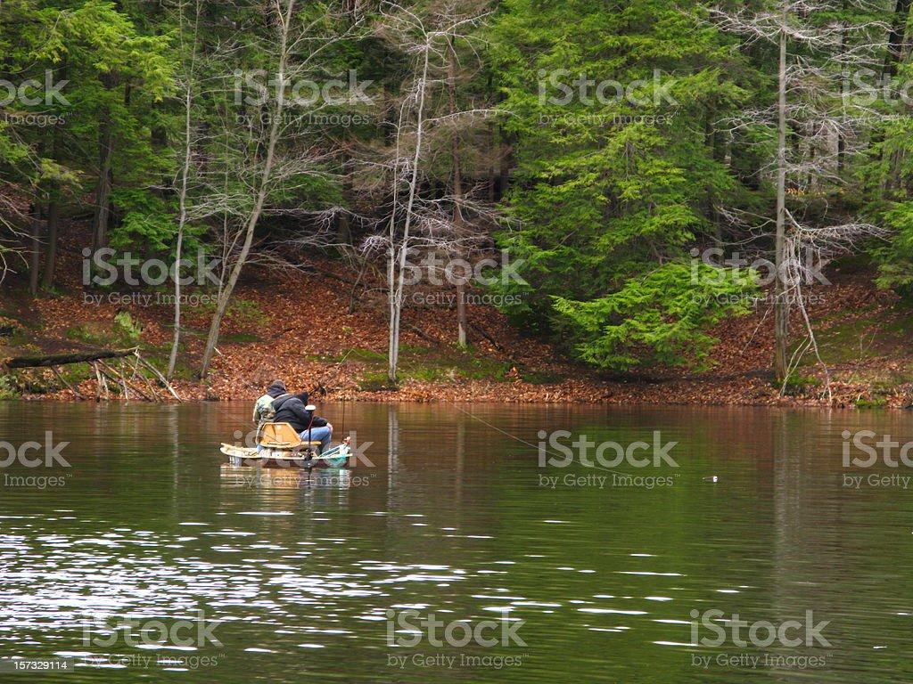 Fishing Boat Lake Fishermen stock photo