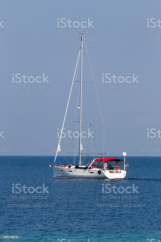 Fishing boat near the Porto Carras marina in Chalkidiki, Greece. stock photo
