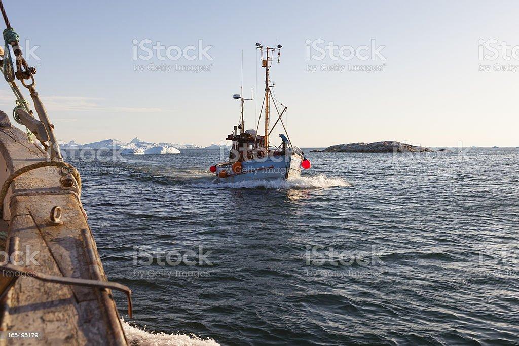 Fishing boat off Ilulissat royalty-free stock photo