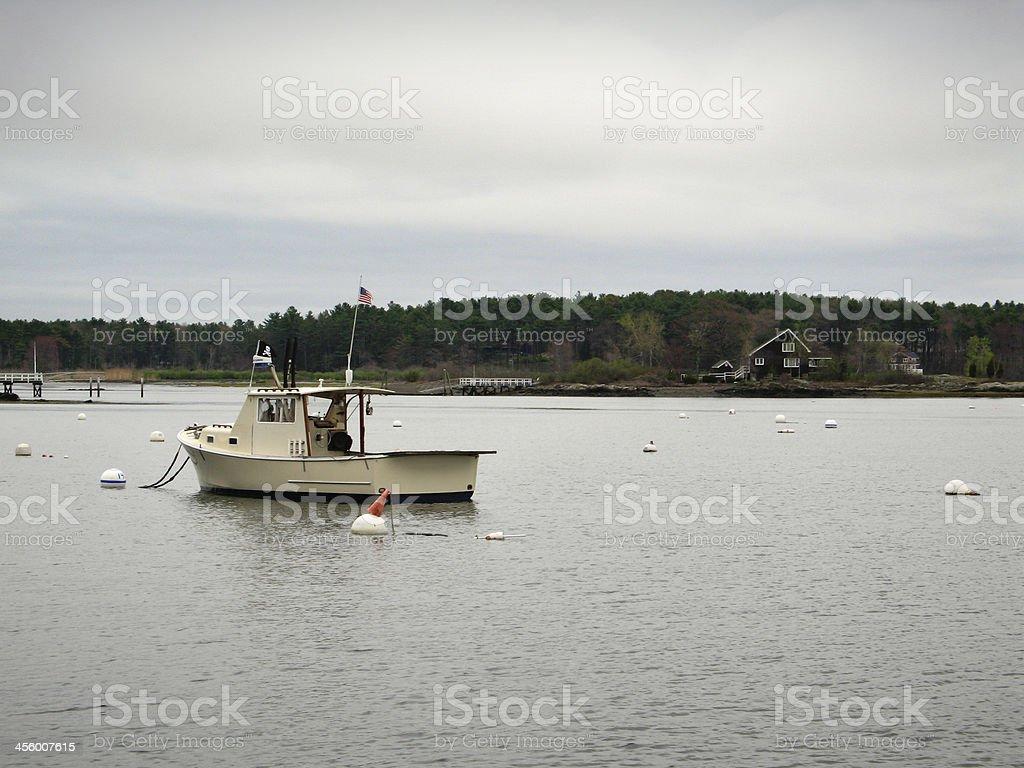 Fishing boat on Atlantic Ocean in Maine stock photo