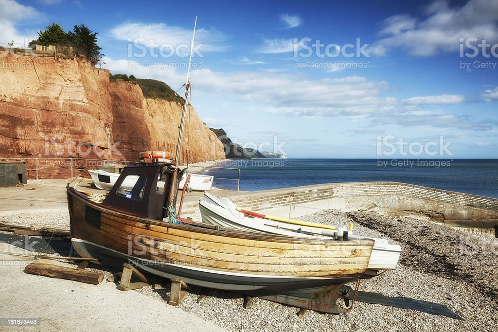 Fishing Boat on beach at Sidmouth stock photo