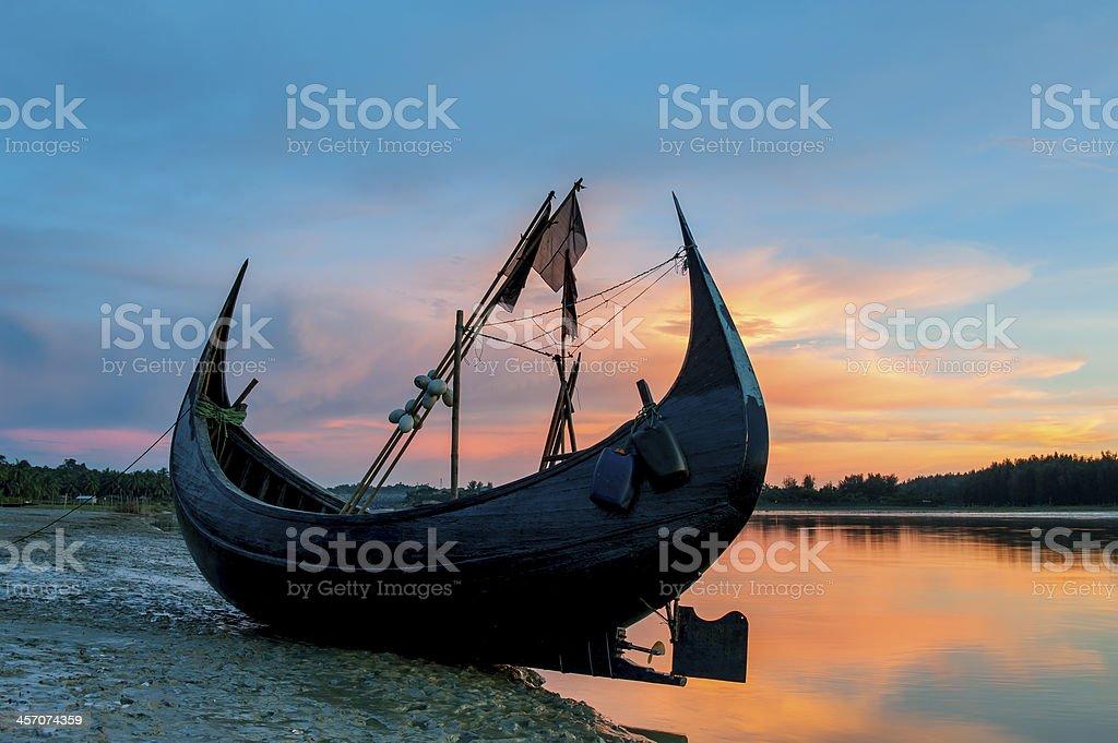 Fishing boat on beach, Bangladesh stock photo