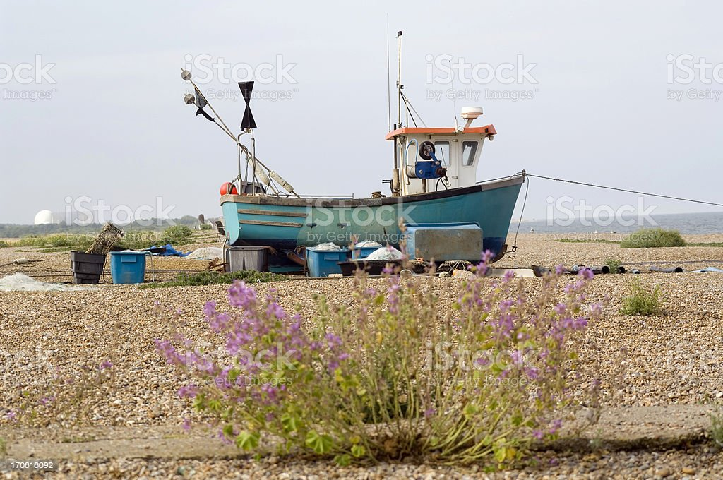 Fishing Boat on beach, England stock photo