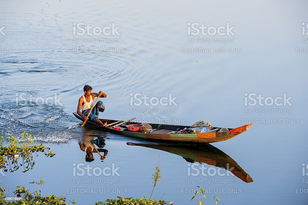Fishing boat on Kaptai Lake, Rangamati, Bangladesh stock photo