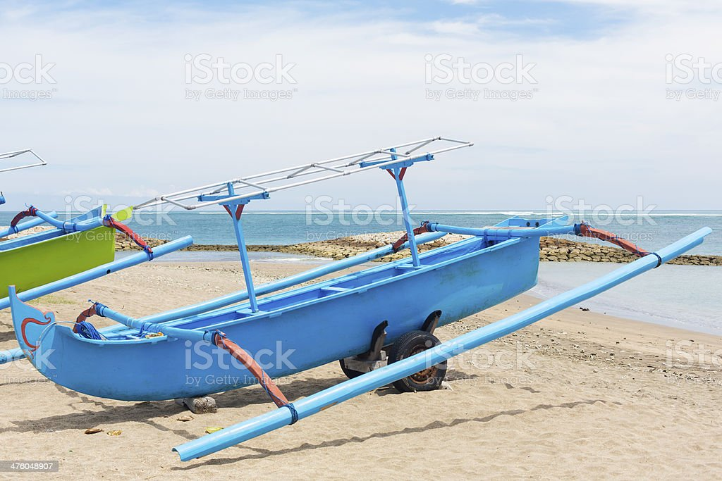 Fishing Boat on Kuta Beach royalty-free stock photo