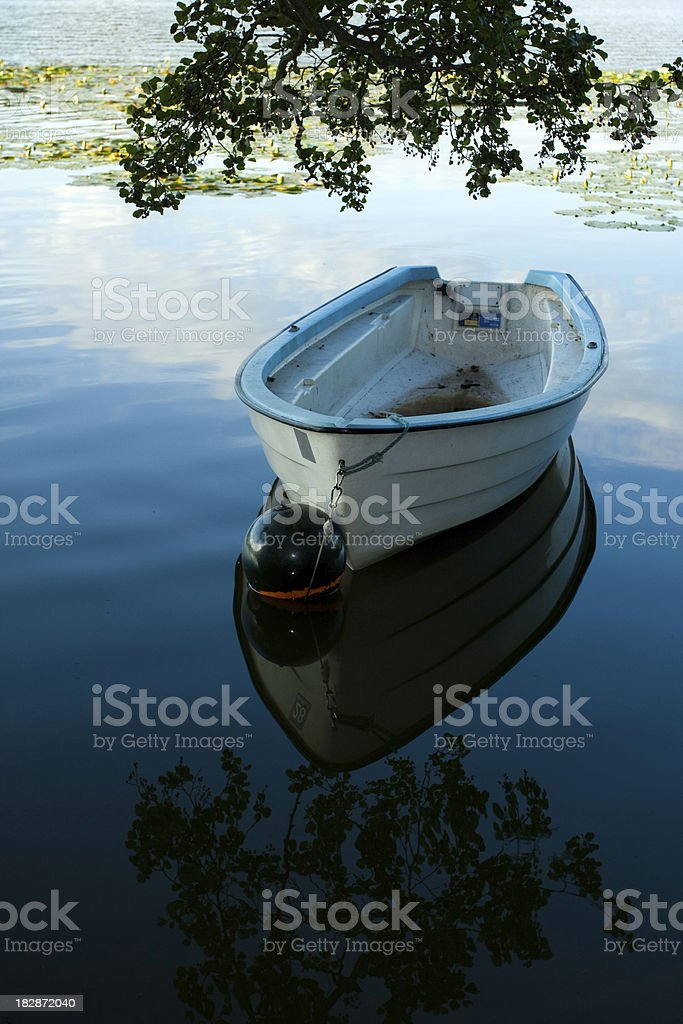 Fishing Boat on Lake in the Morning royalty-free stock photo