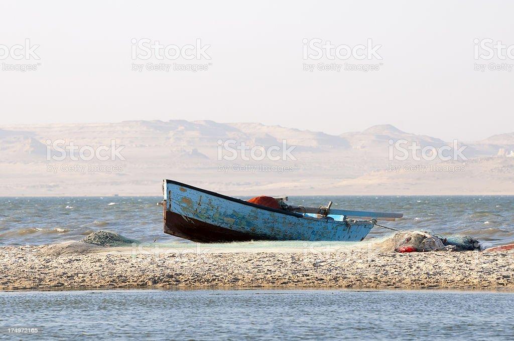 Fishing boat on Lake Qarun in Fayoum, Egypt stock photo